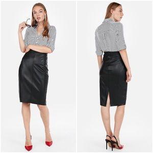 Express Faux Leather Raw Hem Pencil Skirt